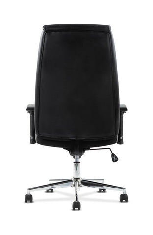 HON Executive Chair | Height-Adjustable Arms | Black Leather | Chrome Accents ; UPC: 641128199155 ; Image 6