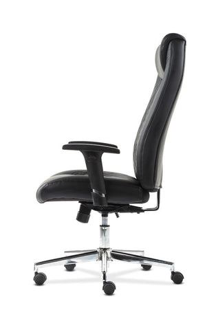 HON Executive Chair | Height-Adjustable Arms | Black Leather | Chrome Accents ; UPC: 641128199155 ; Image 5