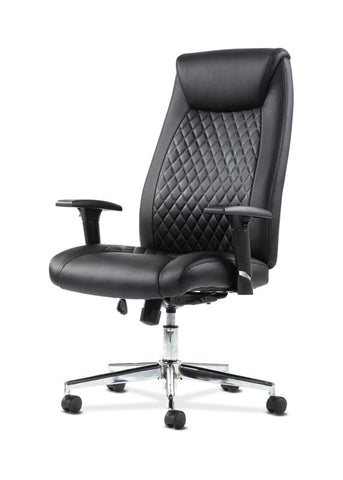 HON Executive Chair | Height-Adjustable Arms | Black Leather | Chrome Accents ; UPC: 641128199155 ; Image 2