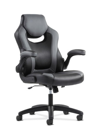 HON Racing Style Gaming Chair | Flip-Up Arms | Black and Gray Leather ; UPC: 089192133628 ; Image 1
