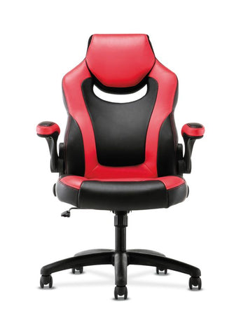 HON Racing Style Gaming Chair | Flip-Up Arms | Black and Red Leather ; UPC: 191734204380 ; Image 3