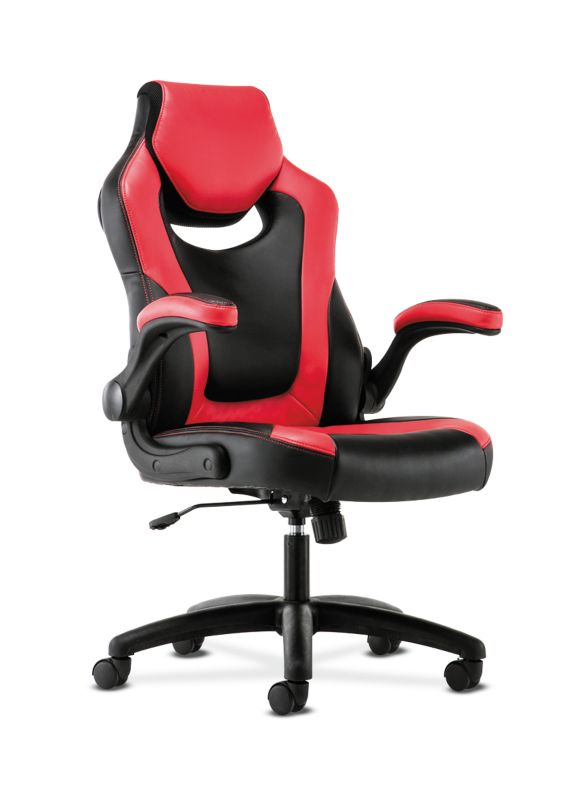 HON Racing Style Gaming Chair | Flip-Up Arms | Black and Red Leather ; UPC: 191734204380 ; Image 1