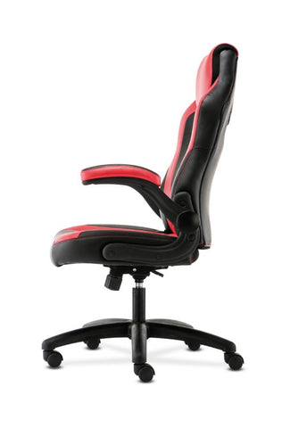 HON Racing Style Gaming Chair | Flip-Up Arms | Black and Red Leather ; UPC: 191734204380 ; Image 5