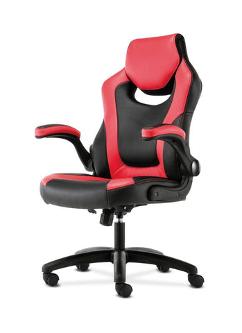 HON Racing Style Gaming Chair | Flip-Up Arms | Black and Red Leather ; UPC: 191734204380 ; Image 2