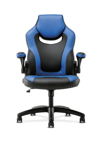 HON Racing Style Gaming Chair | Flip-Up Arms | Black and Blue Leather ; UPC: 191734204366 ; Image 3