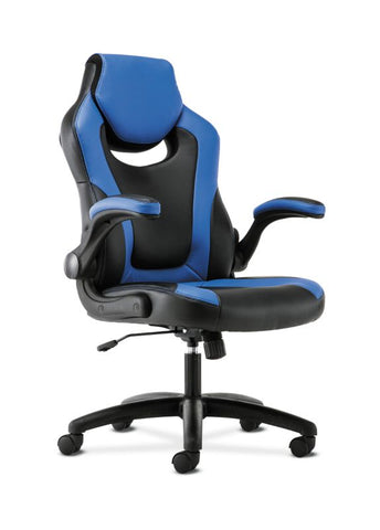 HON Racing Style Gaming Chair | Flip-Up Arms | Black and Blue Leather ; UPC: 191734204366 ; Image 1