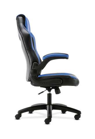 HON Racing Style Gaming Chair | Flip-Up Arms | Black and Blue Leather ; UPC: 191734204366 ; Image 4
