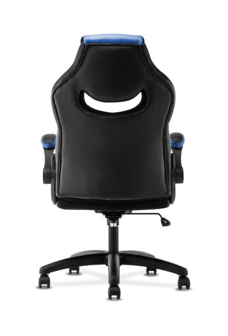 HON Racing Style Gaming Chair | Flip-Up Arms | Black and Blue Leather ; UPC: 191734204366 ; Image 6