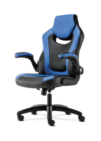 HON Racing Style Gaming Chair | Flip-Up Arms | Black and Blue Leather ; UPC: 191734204366 ; Image 2