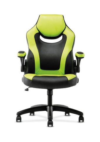 HON Racing Style Gaming Chair | Flip-Up Arms | Black and Green Leather ; UPC: 089192682515 ; Image 3
