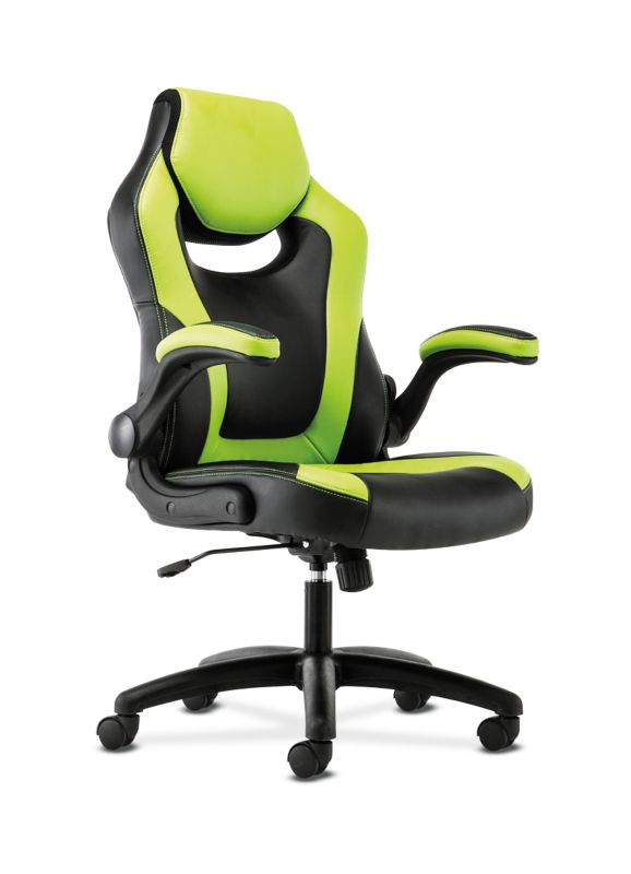 HON Racing Style Gaming Chair | Flip-Up Arms | Black and Green Leather ; UPC: 089192682515 ; Image 1