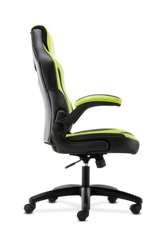 HON Racing Style Gaming Chair | Flip-Up Arms | Black and Green Leather ; UPC: 089192682515 ; Image 4