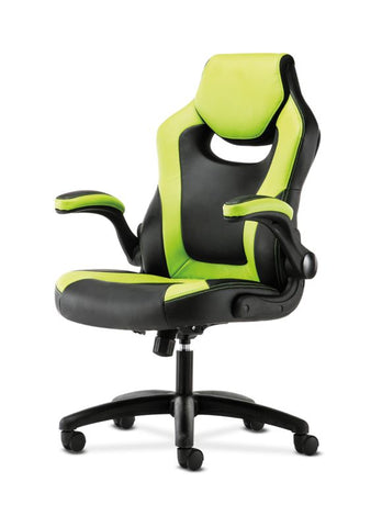HON Racing Style Gaming Chair | Flip-Up Arms | Black and Green Leather ; UPC: 089192682515 ; Image 2