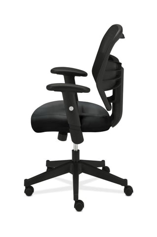 HON Prominent Mesh High-Back Task Chair | Center-Tilt, Tension, Lock | Adjustable Arms | Black SofThread Leather Seat ; UPC: 641128135009 ; Image 4