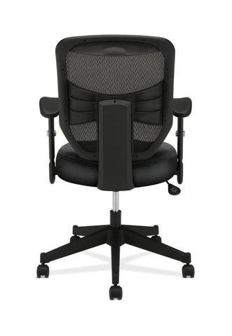 HON Prominent Mesh High-Back Task Chair | Center-Tilt, Tension, Lock | Adjustable Arms | Black SofThread Leather Seat ; UPC: 641128135009 ; Image 5