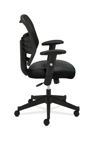 HON Prominent Mesh High-Back Task Chair | Center-Tilt, Tension, Lock | Adjustable Arms | Black SofThread Leather Seat ; UPC: 641128135009 ; Image 3