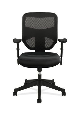 HON Prominent Mesh High-Back Task Chair | Center-Tilt, Tension, Lock | Adjustable Arms | Black SofThread Leather Seat ; UPC: 641128135009 ; Image 2