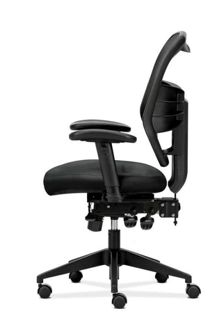 HON Prominent Mesh High-Back Task Chair | Asynchronous Control, Seat Glide | 2-Way Arms | Black Leather ; UPC: 191734881413 ; Image 4