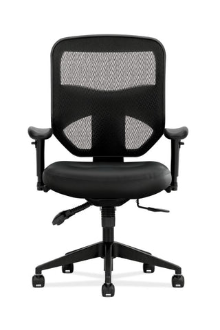 HON Prominent Mesh High-Back Task Chair | Asynchronous Control, Seat Glide | 2-Way Arms | Black Leather ; UPC: 191734881413 ; Image 2