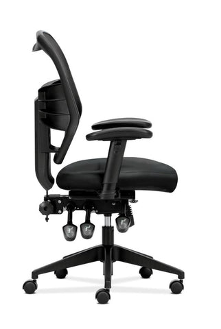 HON Prominent Mesh High-Back Task Chair | Asynchronous Control, Seat Glide | 2-Way Arms | Black Leather ; UPC: 191734881413 ; Image 3