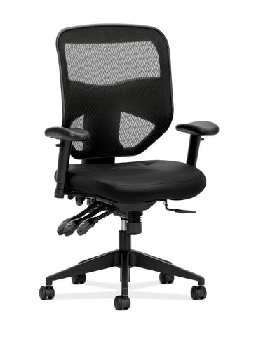 HON Prominent Mesh High-Back Task Chair | Asynchronous Control, Seat Glide | 2-Way Arms | Black Leather ; UPC: 191734881413 ; Image 1
