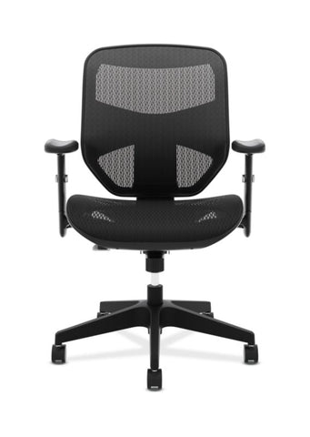 HON Prominent Mesh High-Back Task Chair | Center-Tilt, Tension, Lock | Adjustable Arms | Black Mesh ; UPC: 191734981632 ; Image 2