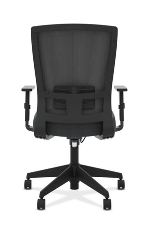 HON Mesh High-Back Task Chair | Center-Tilt, Tension, Lock, Adjustable Lumbar | Adjustable Arms | Black Fabric ; Image 6