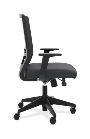 HON Mesh High-Back Task Chair | Center-Tilt, Tension, Lock, Adjustable Lumbar | Adjustable Arms | Black Fabric ; Image 3