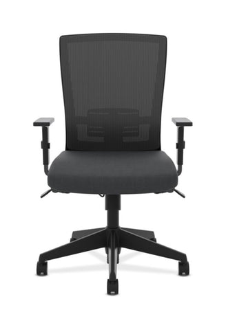 HON Mesh High-Back Task Chair | Center-Tilt, Tension, Lock, Adjustable Lumbar | Adjustable Arms | Black Fabric ; Image 2