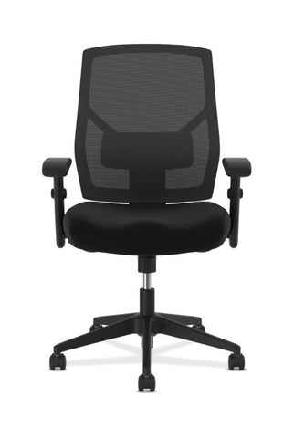 HON Crio High-Back Task Chair | Mesh Back | Adjustable Arms | Adjustable Lumbar | Black Leather ; UPC: 089191555841 ; Image 2