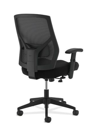 HON Crio High-Back Task Chair | Mesh Back | Adjustable Arms | Adjustable Lumbar | Black Leather ; UPC: 089191555841 ; Image 4