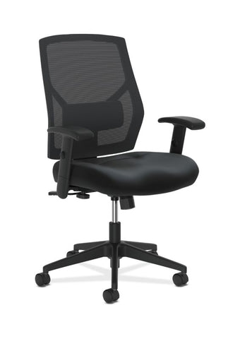 HON Crio High-Back Task Chair | Mesh Back | Adjustable Arms | Adjustable Lumbar | Black Leather ; UPC: 089191555841 ; Image 1