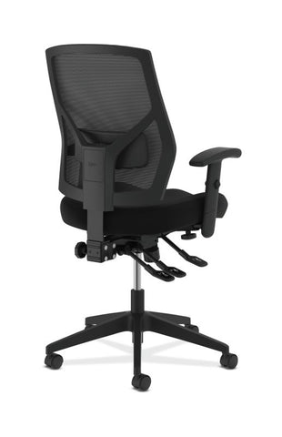 HON Crio High-Back Task Chair | Mesh Back | Adjustable Arms | Asynchronous Control | Adjustable Lumbar | Black Leather ; UPC: 888531612196 ; Image 4
