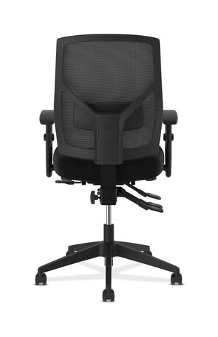 HON Crio High-Back Task Chair | Mesh Back | Adjustable Arms | Asynchronous Control | Adjustable Lumbar | Black Leather ; UPC: 888531612196 ; Image 3