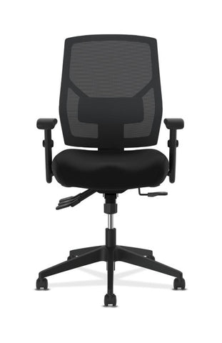HON Crio High-Back Task Chair | Mesh Back | Adjustable Arms | Asynchronous Control | Adjustable Lumbar | Black Leather ; UPC: 888531612196 ; Image 2