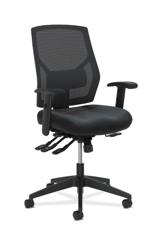 HON Crio High-Back Task Chair | Mesh Back | Adjustable Arms | Asynchronous Control | Adjustable Lumbar | Black Leather ; UPC: 888531612196 ; Image 1