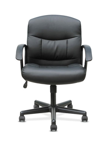 HON Mid-Back Chair | Fixed Arms | Black Leather ; UPC: 191734204250 ; Image 3