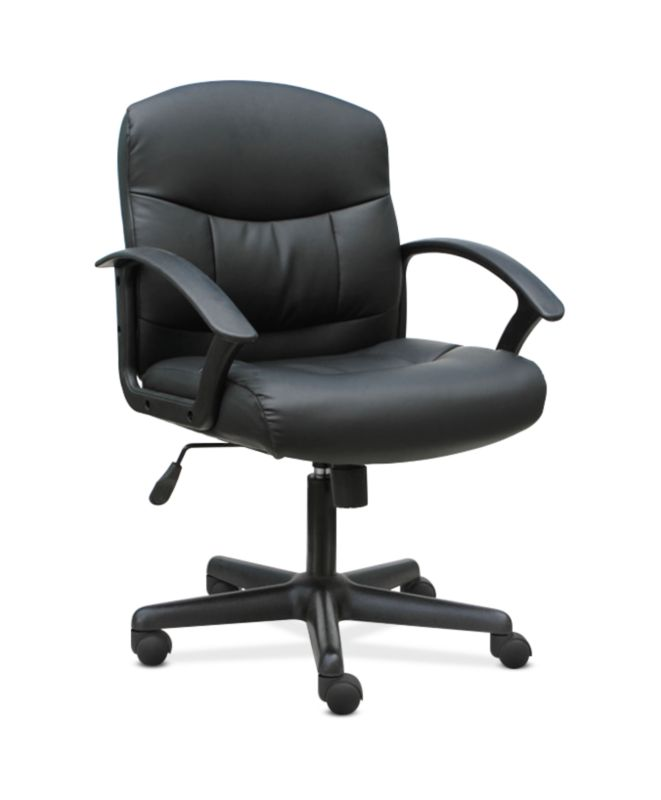 HON Mid-Back Chair | Fixed Arms | Black Leather ; UPC: 191734204250 ; Image 1