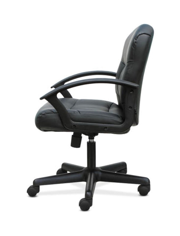 HON Mid-Back Chair | Fixed Arms | Black Leather ; UPC: 191734204250 ; Image 5