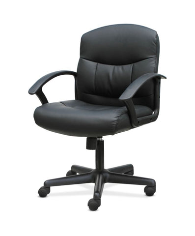 HON Mid-Back Chair | Fixed Arms | Black Leather ; UPC: 191734204250 ; Image 2