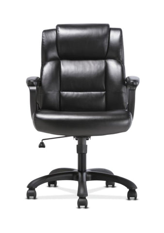 Sadie Mid-Back Executive Chair | Fixed Padded Arms | Black Leather ; UPC: 888206724735 ; Image 5