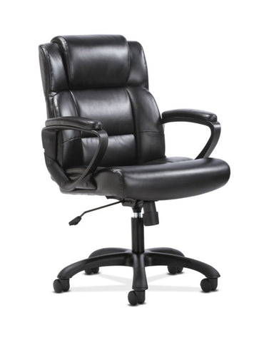 Sadie Mid-Back Executive Chair | Fixed Padded Arms | Black Leather ; UPC: 888206724735 ; Image 1