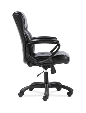 Sadie Mid-Back Executive Chair | Fixed Padded Arms | Black Leather ; UPC: 888206724735 ; Image 3