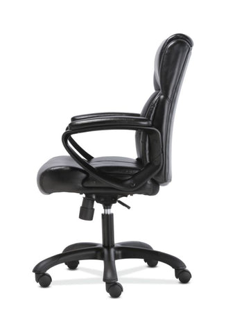 Sadie Mid-Back Executive Chair | Fixed Padded Arms | Black Leather ; UPC: 888206724735 ; Image 4