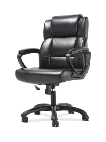 Sadie Mid-Back Executive Chair | Fixed Padded Arms | Black Leather ; UPC: 888206724735 ; Image 2