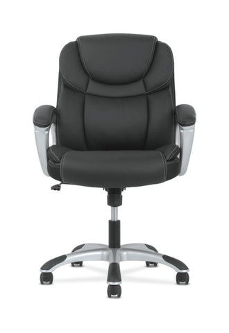 Sadie Mid-Back Executive Chair | Padded Arms | Black Leather | Silver Accents ; UPC: 888206724827 ; Image 5