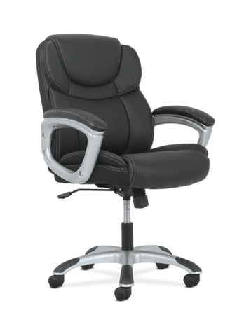 Sadie Mid-Back Executive Chair | Padded Arms | Black Leather | Silver Accents ; UPC: 888206724827 ; Image 1