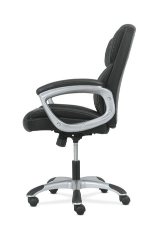 Sadie Mid-Back Executive Chair | Padded Arms | Black Leather | Silver Accents ; UPC: 888206724827 ; Image 4