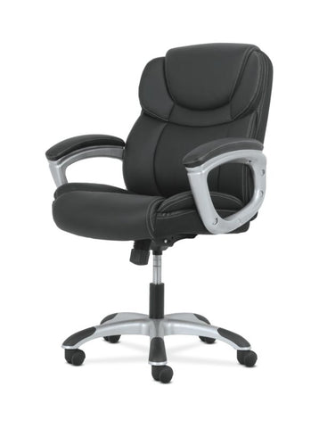 Sadie Mid-Back Executive Chair | Padded Arms | Black Leather | Silver Accents ; UPC: 888206724827 ; Image 2