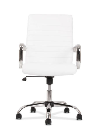 HON Executive Chair | Fixed Arms | White Leather | Chrome Accents ; UPC: 191734204373 ; Image 3
